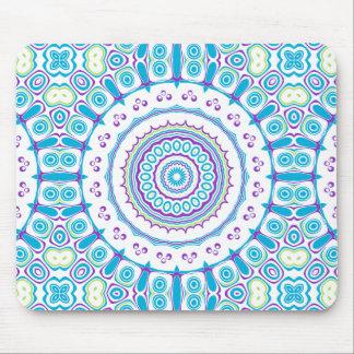 Purple, Blue & Green Kaleidoscope Flowers Design Mouse Pad