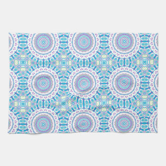 Purple, Blue & Green Kaleidoscope Flowers Design Tea Towel