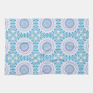 Purple, Blue & Green Kaleidoscope Flowers Design Kitchen Towels