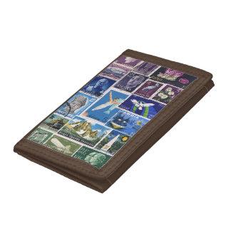 Purple Blue Green Wallet, Abstract Landscape Art Tri-fold Wallet