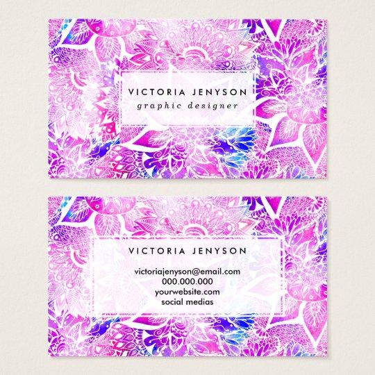 Purple blue henna boho floral mandala pattern business