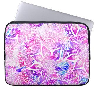 Purple blue henna boho floral mandala pattern laptop sleeve