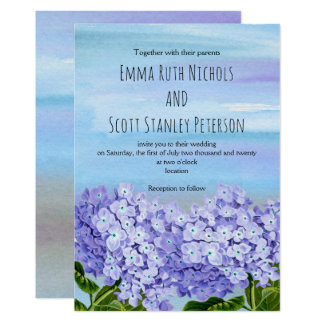 Purple, blue hydrangeas watercolor floral wedding 13 cm x 18 cm invitation card