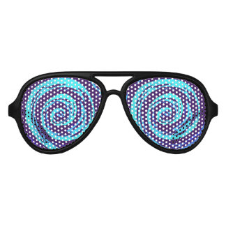 Purple & Blue Hypnotic Swirl Art Aviator Sunglasses
