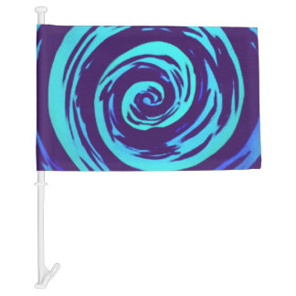 Purple & Blue Hypnotic Swirl Art Car Flag