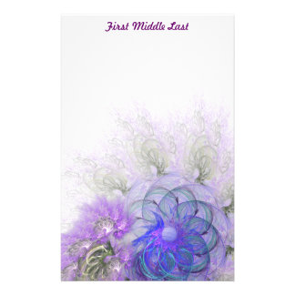 Purple & Blue Lacy Flower Fractal Design Stationery