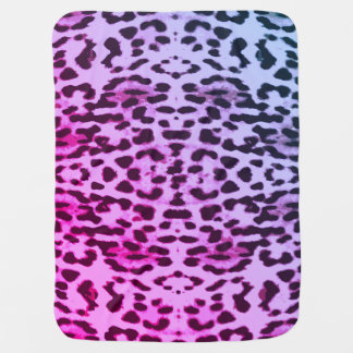 Purple & Blue Leopard Print Baby Blanket