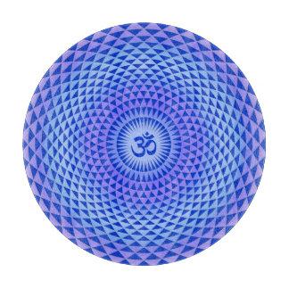 Purple Blue Lotus flower meditation wheel OM Cutting Board