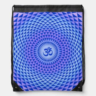 Purple Blue Lotus flower meditation wheel OM Drawstring Bag