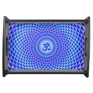 Purple Blue Lotus flower meditation wheel OM Serving Tray