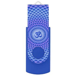 Purple Blue Lotus flower meditation wheel OM Swivel USB 2.0 Flash Drive