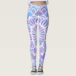 Purple Blue Mandala pattern BOHO Leggings