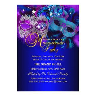 """Purple & Blue Masks Masquerade Party Invite 5"""" X 7"""" Invitation Card"""
