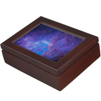 Purple & Blue Modern Deep Space Background Keepsake Box