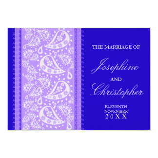 Purple Blue Paisley Wedding Invitation