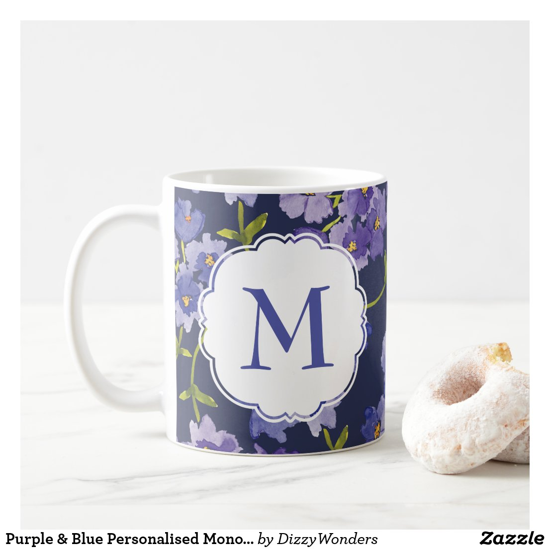 Purple & Blue Personalised Monogram Floral Mug