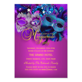 Purple Blue Pink Masks Masquerade Party Invite