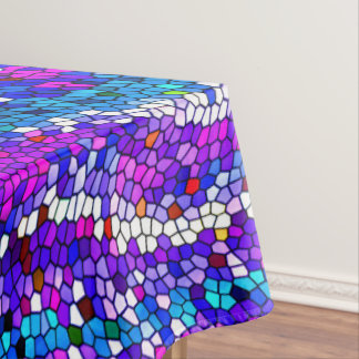 Purple Blue Pink Mosaic Tile Pattern Tablecloth