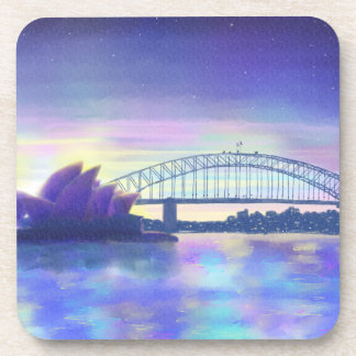 Purple Blue Pink Sydney Harbour Sunset Painting Coaster