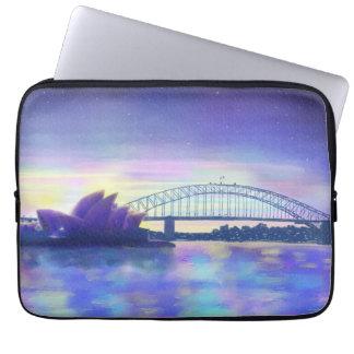 Purple Blue Pink Sydney Harbour Sunset Painting Laptop Sleeve