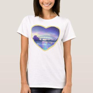 Purple Blue Pink Sydney Harbour Sunset Painting T-Shirt