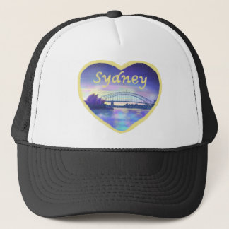 Purple Blue Pink Sydney Harbour Sunset Painting Trucker Hat