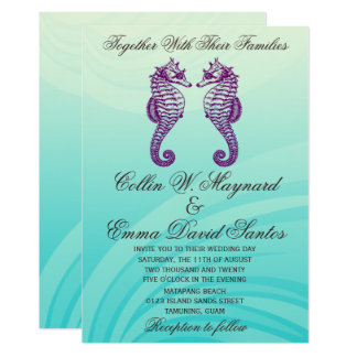 Purple & Blue Seahorse Wedding Invites