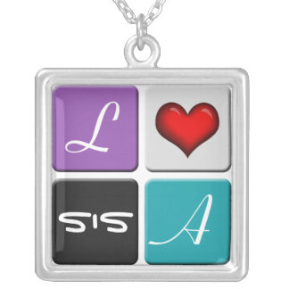 Purple Blue SIS Sisters Necklace