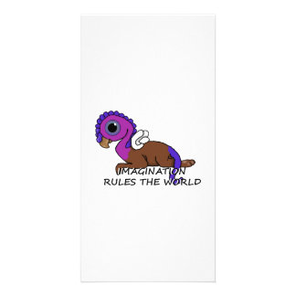 Purple & Blue Squite Imagination rules the world Personalised Photo Card