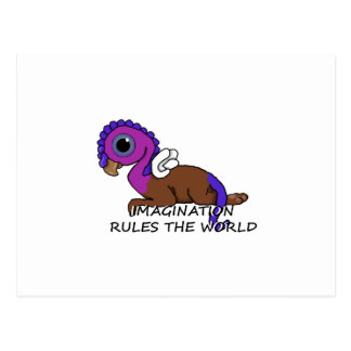 Purple & Blue Squite Imagination rules the world Postcard