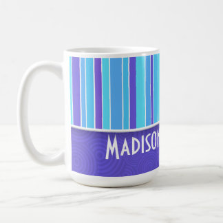 Purple Blue Stripes Striped Coffee Mugs