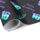 Purple Blue Sweet 16 Personalised Wrapping Paper