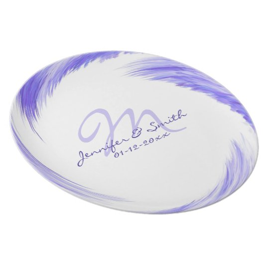 Purple Blue Swirl Pattern Monogram Plate
