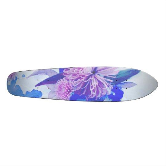 Purple, Blue & Teal Floral Printed Longboard 21.3