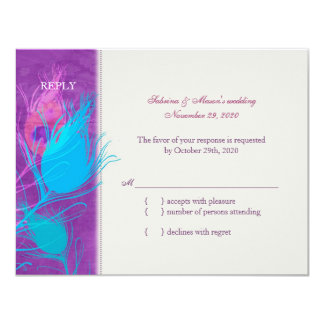 Purple Blue Teal Peacock Wedding RSVP Card