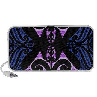 Purple blue traditional Maori tattoo design Mini Speakers