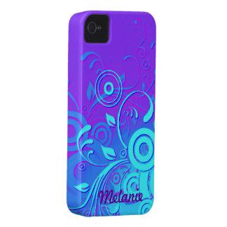 Purple Blue Turquoise Swirls iPhone 4 Case-Mate Case
