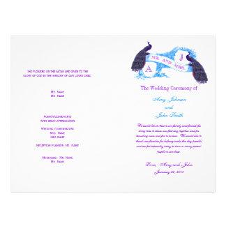 Purple Blue Vintage Peacock Wedding Program Flyer
