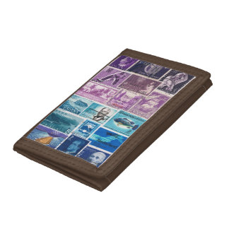 Purple Blue Wallet, Abstract Seascape, Stamp Art Trifold Wallet