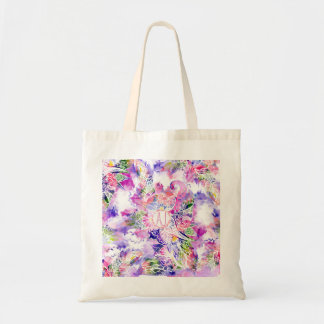 Purple blue watercolor abstract floral monogram tote bag
