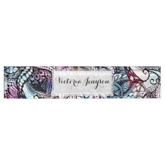 Purple blue watercolor floral hand drawn pattern nameplate