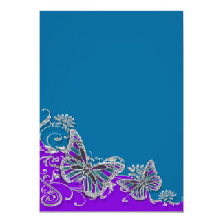 Purple blue wedding butterfly floral 13 cm x 18 cm invitation card