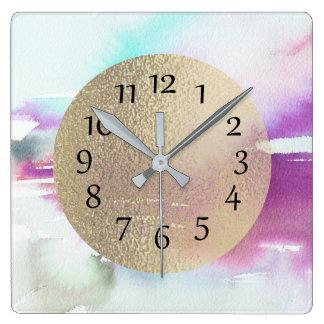 Teal Watercolor Wall Clocks Zazzle Co Uk
