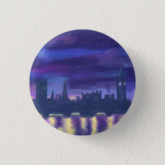 Purple Blue Yellow Art Sunset Over London Painting 3 Cm Round Badge