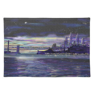 Purple Blue Yellow New York City Sunset Painting Placemat
