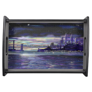 Purple Blue Yellow New York City Sunset Painting Serving Tray