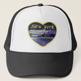Purple Blue Yellow New York City Sunset Painting Trucker Hat