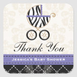 Purple Blue Zebra Baby Carriage Thank You Square Sticker