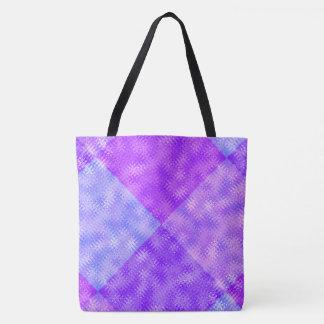Purple Blue ZigZag and Bubbles Pattern Diamonds Tote Bag