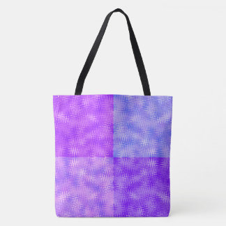 Purple Blue ZigZag and Bubbles Pattern Tote Bag